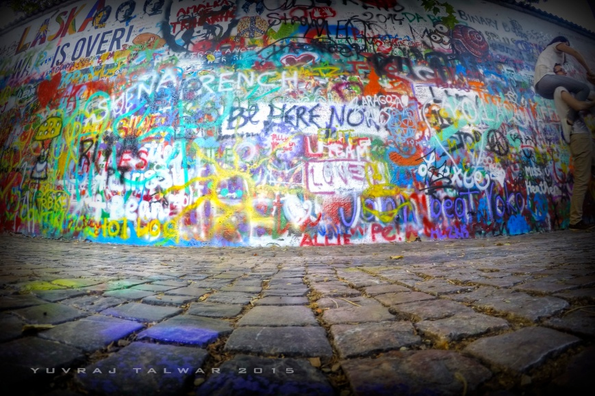 John Lennon Wall. Do leave a mark. As high as possible